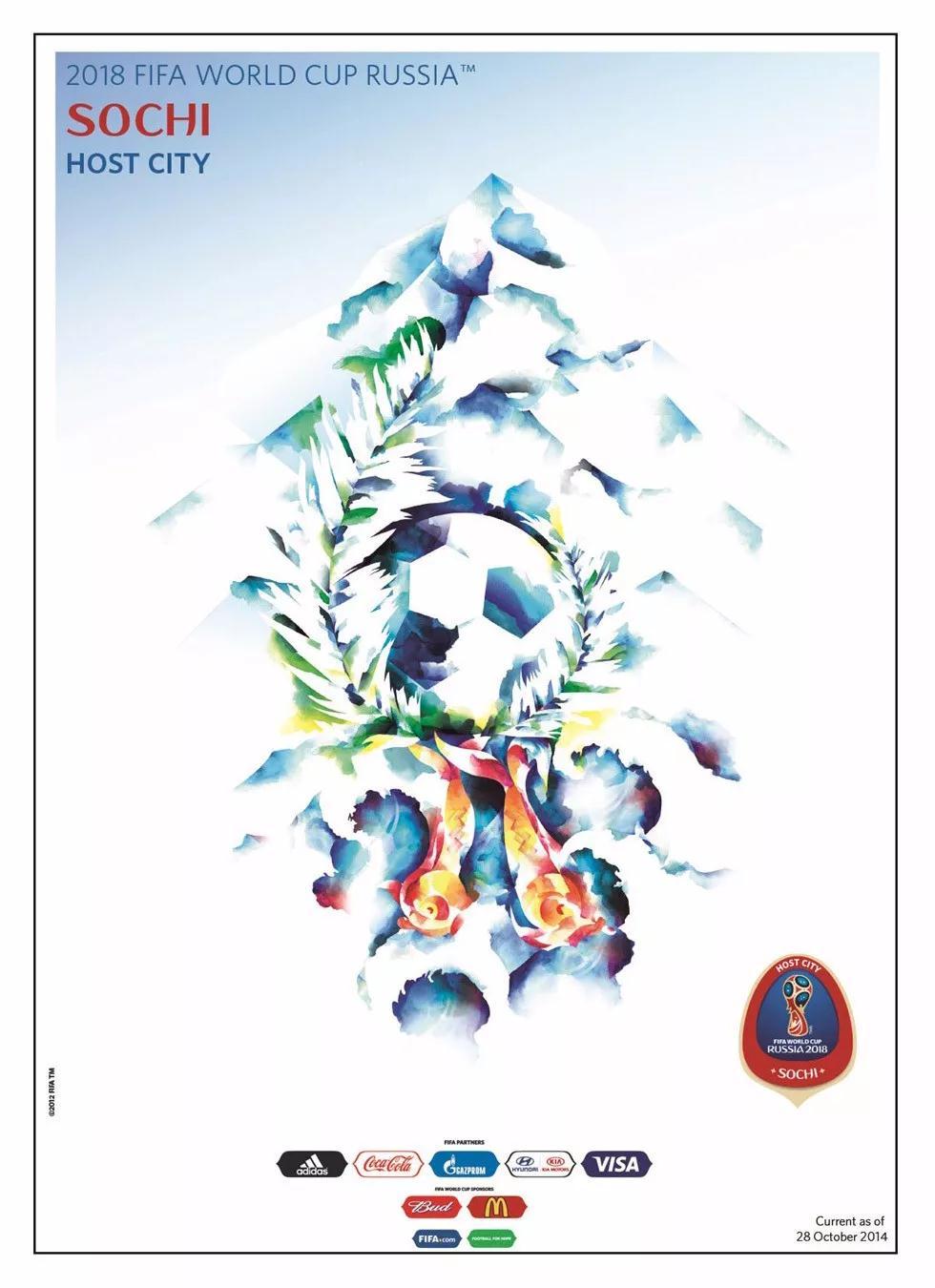 海报以主办城市的特征来设计,比如圣彼得堡(Saint Petersburg),表现的是圣彼得堡独特的城市建筑,喀山(Kazan)以国家象征雪豹为元素,萨兰斯克(Saransk)描绘则是来自莫尔多维亚神话的创造之鸟。