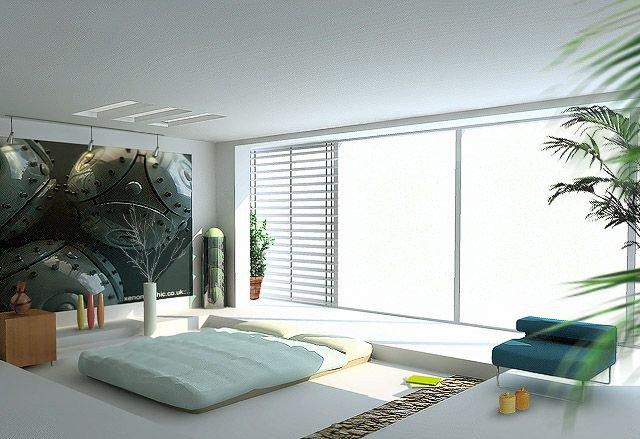 卧室效果图设计欣赏   大型衣柜、梳妆台被搬出去 由于居