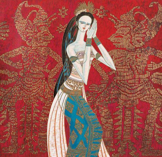 云南现代重彩画是1980年代初由丁绍光、区欣文、蒋铁锋、刘绍荟等一批云南画家研创的。他们以中国画的线条造型,应用西方现代绘画注重醒目的斑斓色彩的技法,给画面注入了勃勃生机和绚丽色彩,给人一种赏心悦目之感。其内容大多是反映云南优美的自然风光、少数民族风情和历史文化,具有浓郁的民族地方特色。它将东西方绘画语言、古今技法融为一炉,具有极强的透视感。画面上丰富艳丽的色彩和夸张与写实结合的人物实体,给人一种梦幻神奇、似梦非梦的感觉,具有极强的美感和装饰性。是崛起于云南的一种绘画流派。它用碳石加水粉,用桃胶调和,再用